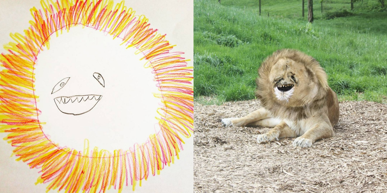 Lion Drawing Both