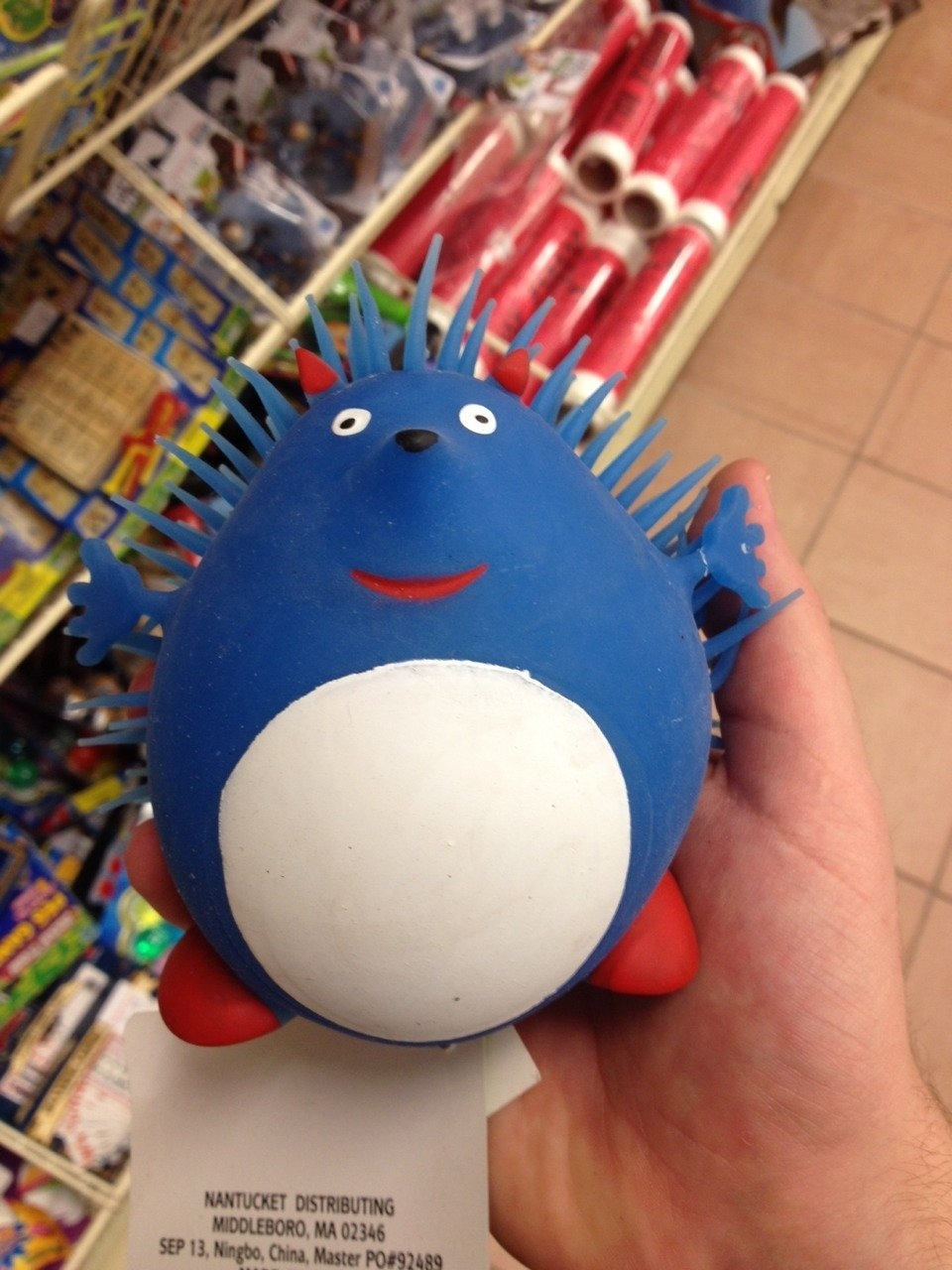 Actually looks a lot more like a blue hedgehog than Sonic does, at the very least.